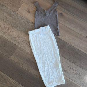 Naked Wardrobe White Midi Pencil Skirt
